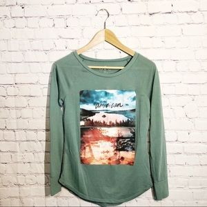 America Eagle Long Sleeve Graphic Tee size Small
